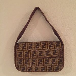3ed63a000cb6 Fendi Bags - Fendi Vintage FF Zucca Monogram Beaded Handbag